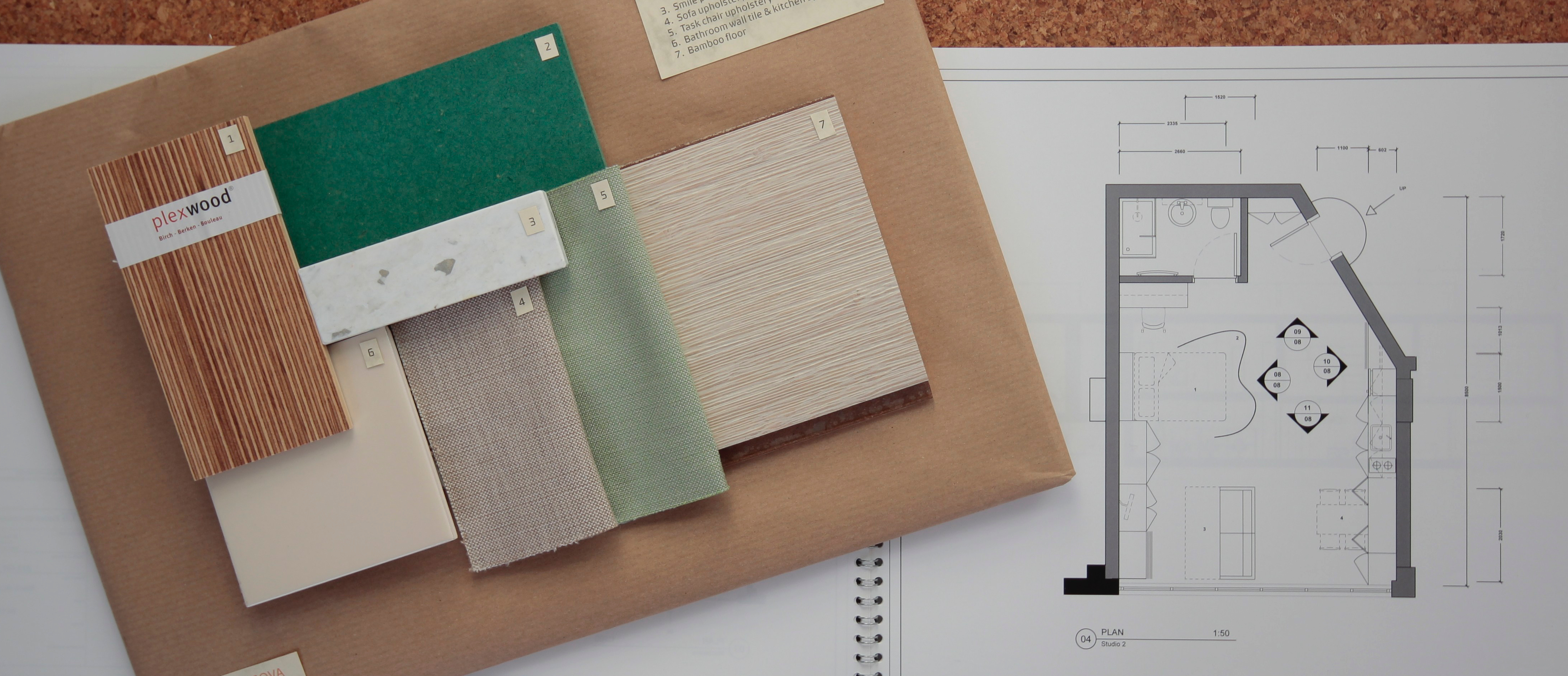 Interior mood boards and plans