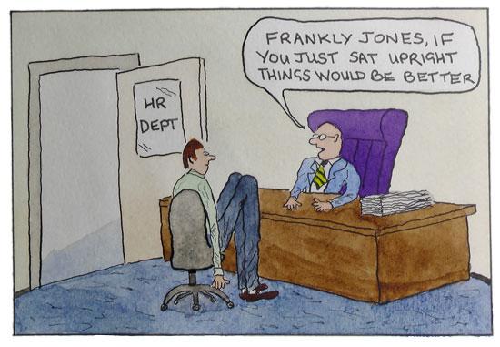 Cartoon of man at office desk