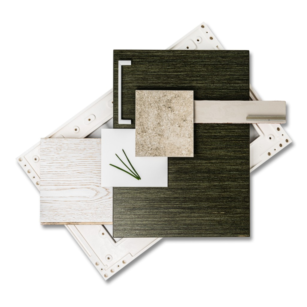 Dark green and white forest inspired kitchen design mood board