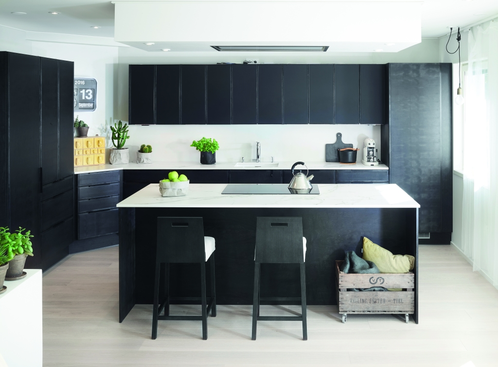 Black and white minimalist Scandinavian sustainable kitchen Miinus Kitchens with island