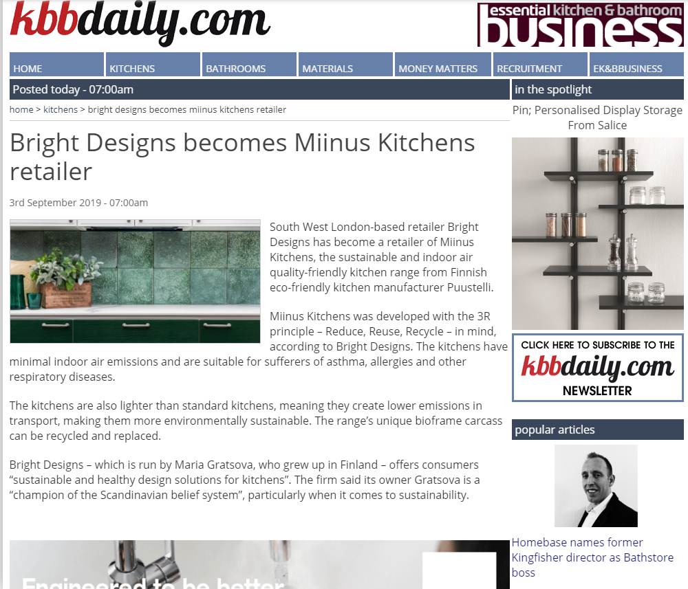 Sustainable and healthy kitchen design news