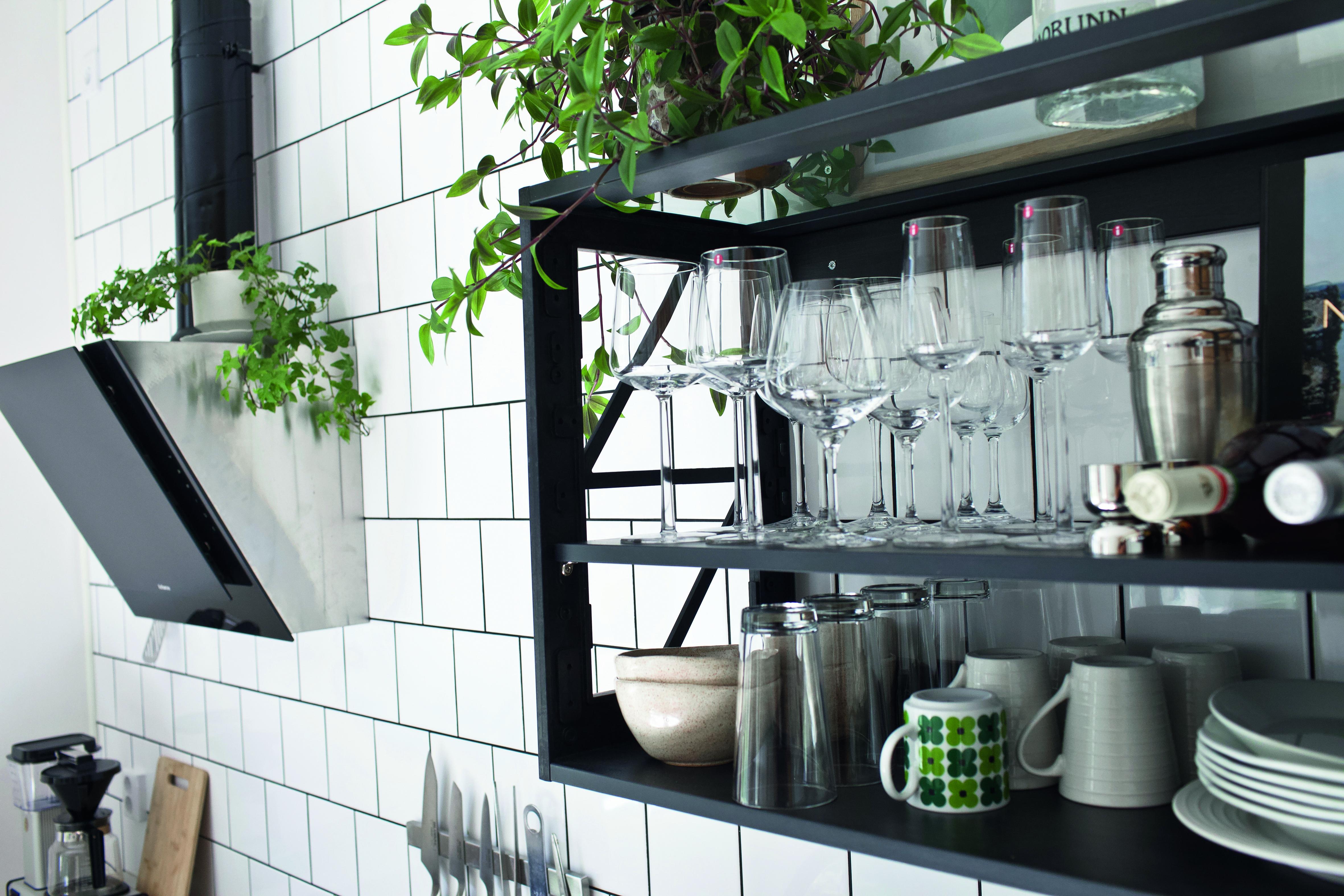 Detail of black and white minimalist sustainable kitchen Miinus Kitchens