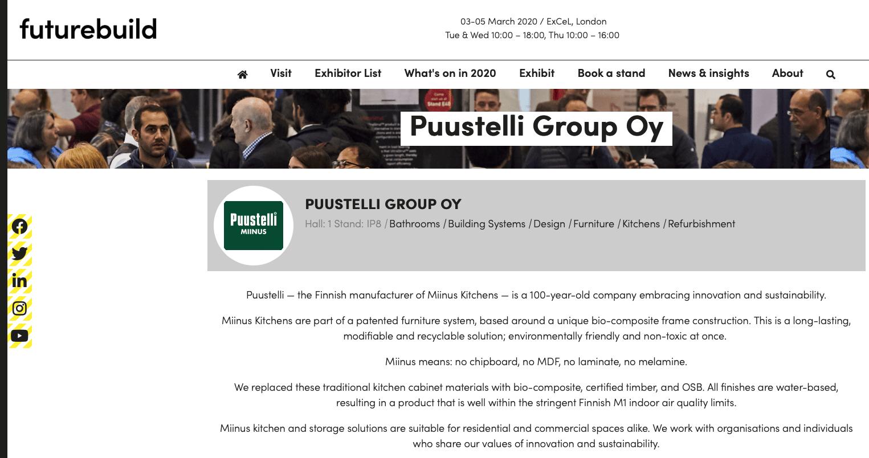 Futurebuild Big Innovation Pitch participant profile: Puustelli Miinus